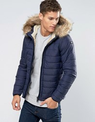 Schott Quilted Padded Hooded Jacket Detachable Faux Fur Trim Navy
