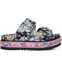 Alexander Mcqueen Floral Print Embroidered Leather Flatfrom Sandals Blk Other