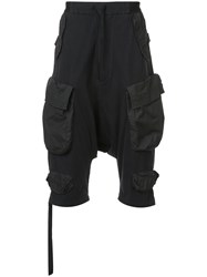 Unravel Project Drop Crotch Cargo Shorts Black