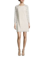 Shoshanna Geometric Floral Lace Shift Dress Ivory