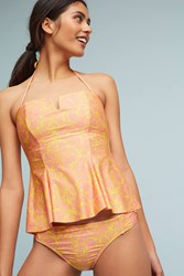 Anthropologie Peplum Swim Tankini Bikini Top Canary