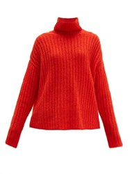 Marni Roll Neck Mohair Blend Sweater Red