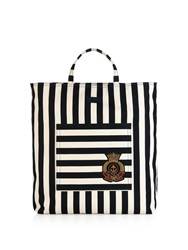 Gucci Striped Cotton And Linen Blend Canvas Tote
