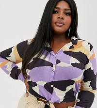Pink Clove Tie Front Blouse With Balloon Sleeve In Abstract Print Multi