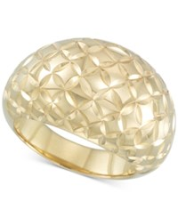 Signature Gold Textured Dome Ring In 14K Over Resin Yellow Gold