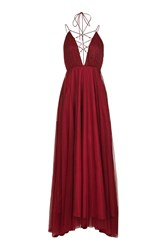 Topshop Petite Tulle Lace Maxi Dress Berry Red