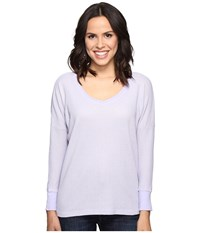 Allen Allen Long Sleeve Drop Shoulder High Low V Neck Garden Purple Women's Long Sleeve Pullover
