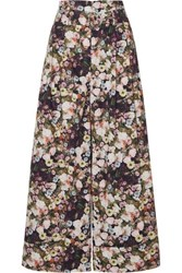 Adam By Adam Lippes Oversized Belted Floral Print Cotton Poplin Pants Black
