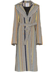 Rosie Assoulin Houndstooth Oversized Sash Trench Coat Multicolour