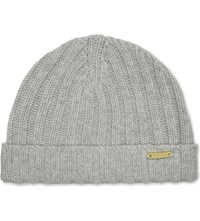 Burberry Ribbed Wool Beanie Grey