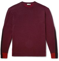 Etro Colour Block Wool And Cashmere Blend Sweater Burgundy