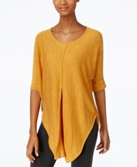 Ny Collection Heather Knit Pleat Front Poncho Top Inca Gold
