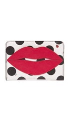 Charlotte Olympia Pouty Passport Holder White Polka Dot Print Real Red