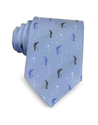 Marina D'este Golf Player Light Blue Woven Silk Men's Tie