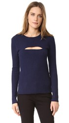 Frame Overlap Rib Sweater Navy