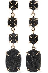 Melissa Joy Manning 14 Karat Gold Druzy Earrings One Size