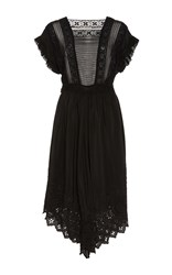 Ulla Johnson Genevive Silk Eyelet And Lace Dress Black
