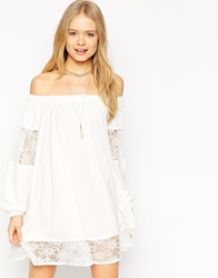 Asos Swing Dress With Gypsy Shoulder Detail And Lace Inserts Cream
