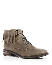 Freda Salvador Lace Up Booties Stone Fringe Pebble
