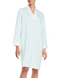 Miss Elaine Embroidered Quilted Zip Up Robe Blue