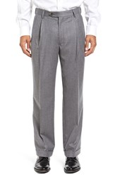 Berle Men's Big And Tall Pleated Solid Wool Trousers Light Grey
