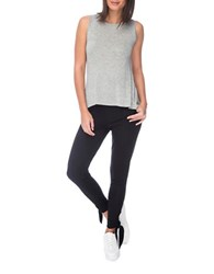 Bobeau Cutout Back Sleeveless Top Grey