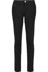 Maje Mid Rise Embroidered Straight Leg Jeans Black