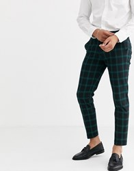 Jack And Jones Premium Check Trousers In Green Navy