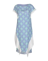 Uniqueness Dresses Knee Length Dresses Women Pastel Blue