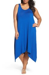 Sejour Plus Size Women's Jersey Sharkbite Hem Tank Dress Blue Royal