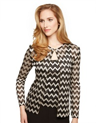 Alex Evenings Plus Chevron Stripe Twinset Black Silver