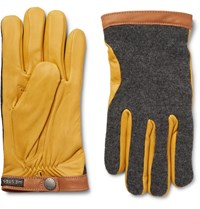 Hestra Tricot Panelled Leather Gloves Yellow
