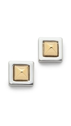 Rebecca Minkoff Pyramid Stud Earrings Silver Gold