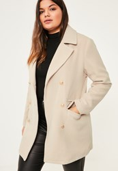 Missguided Plus Size Nude Short Faux Wool Military Coat Stone
