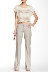 Level 99 Newport Wide Leg Linen Blend Trouser Beige