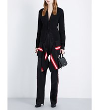 Givenchy Strip Hem Wool Blend Cardigan Blk Red Wht