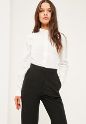 Missguided Petite Exclusive White Ruffle Neck Shirt