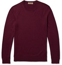Burberry Elbow Patch Cotton And Cashmere Blend Sweater Burgundy