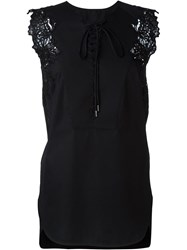 Ermanno Scervino Lace Detailing Lace Up Tank Top Black