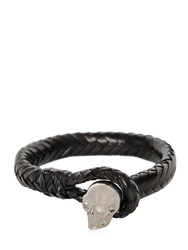 Alexander Mcqueen Braided Leather Bracelet With Skull