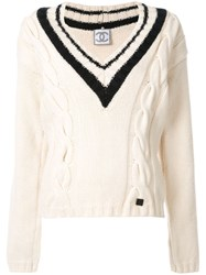 Chanel Vintage Cable Knit V Neck Jumper White