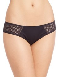 Ondademar Mesh Detail Hipster Scoop Bikini Bottom Black