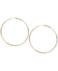 Hint Of Gold Endless Hoop Earrings In 14K Gold Plated Sterling Silver And Brass 90Mm