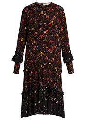 Preen Line Yasmina Floral Print Crepe Dress Black Multi