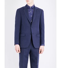 Canali Tailored Fit Linen And Silk Blend Jacket Navy