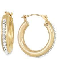 Signature Gold Sigature Gold Crystal Hoop Earrings In 14K Gold Yellow Gold