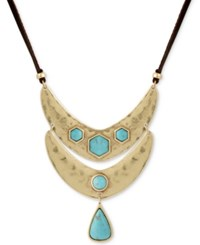 Lucky Brand Gold Tone Colored Stone Reversible Leather 36 Pendant Necklace