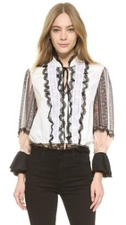 Rodarte Silk And Lace Cinched Waist Blouse Ivory Stripe Paisley