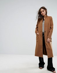 Moon River Oversized Pea Coat Brick Orange