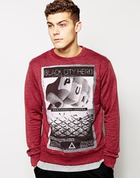 Solid Solid Sweatshirt With Punk Print Burgundy
